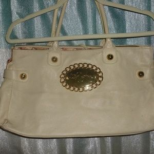 Betsey Johnson leather gold leather beige satchel